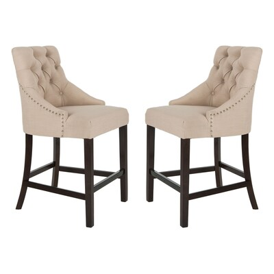 Enjoyable Safavieh Eleni Set Of 2 Beige Counter Stool At Lowes Com Ncnpc Chair Design For Home Ncnpcorg