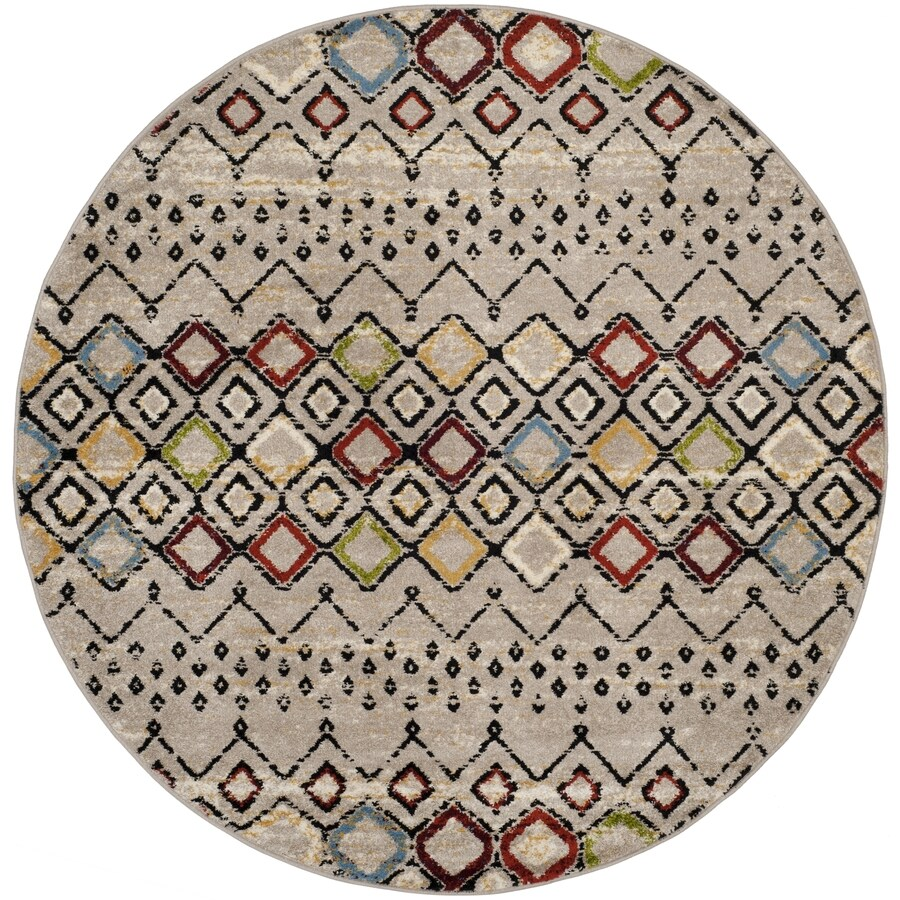 Safavieh Amsterdam Huron Light Gray/Multi Round Indoor Machine-made Lodge Area Rug (Common: 5 X 5; Actual: 5.1-ft W x 5.1-ft L x 5.1-ft dia)