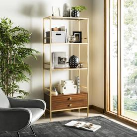 Safavieh Mateo Gold/Walnut Metal Etagere