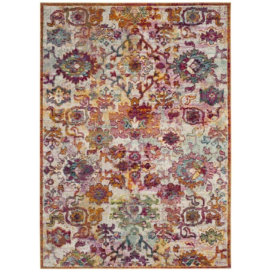 Safavieh Savannah Cream Orange Indoor Distressed Area Rug Common 6 X 9