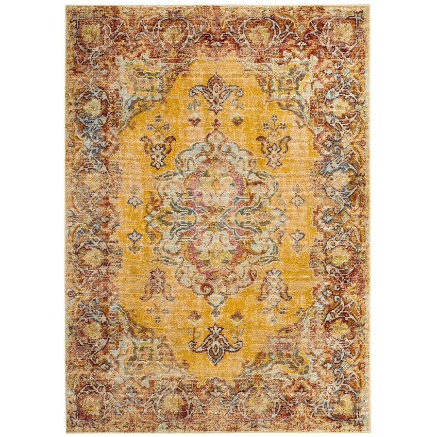 Safavieh Savannah Yellow/Yellow Distressed Area Rug (Common: 5 x 8; Actual: 5.1-ft W x 7.5-ft L)