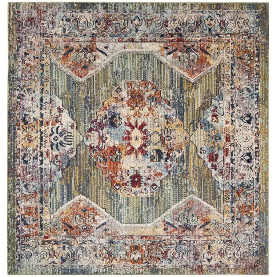 Safavieh Savannah Green/Gray Square Distressed Area Rug (Common: 7 x 7; Actual: 6.6-ft W x 6.6-ft L)