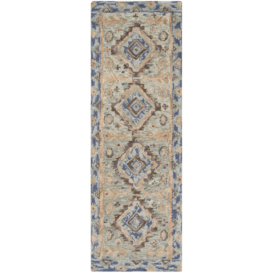 Safavieh Aspen Ramah 2 X 7 Blue Beige Indoor Abstract Global Handcrafted Runner In The Rugs Department At Lowes Com