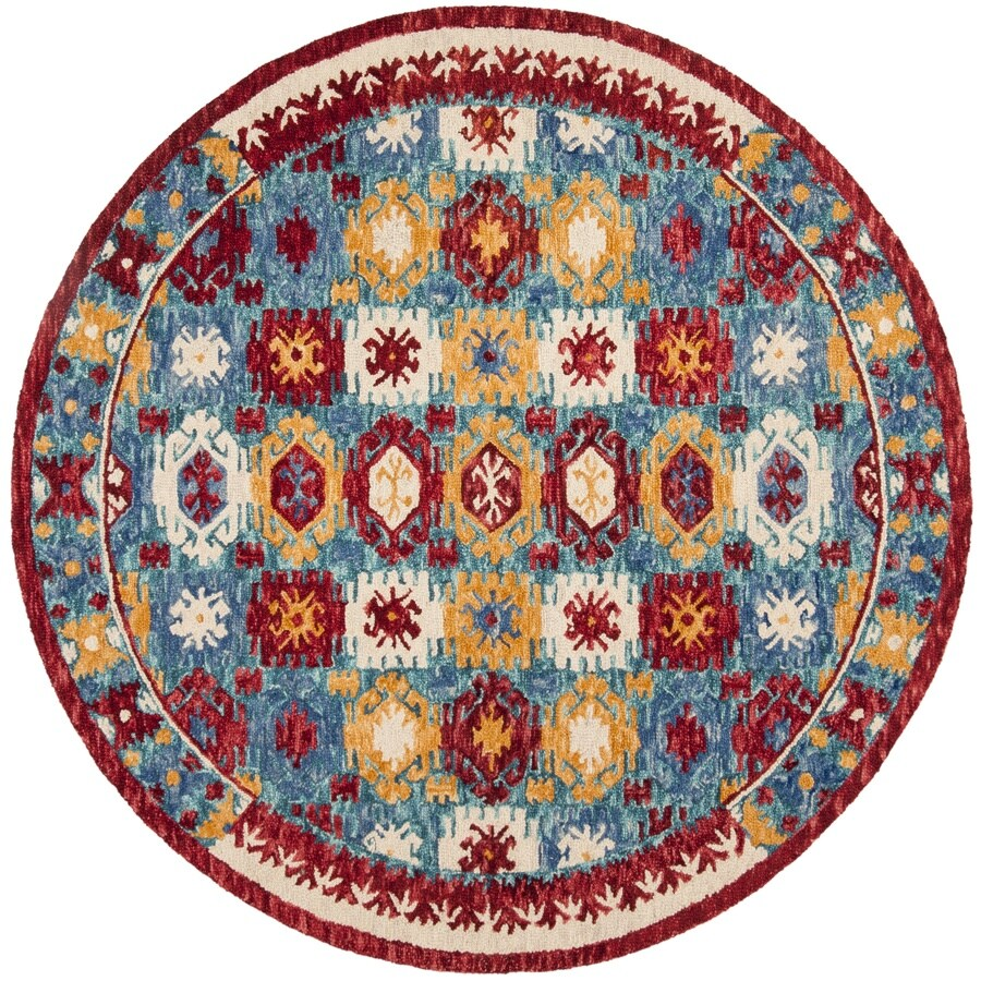 Safavieh Aspen Blue/Red Round Indoor Handcrafted Lodge