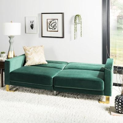 Safavieh Tribeca Emerald Green/Brass Polyester Sofa Bed at ...