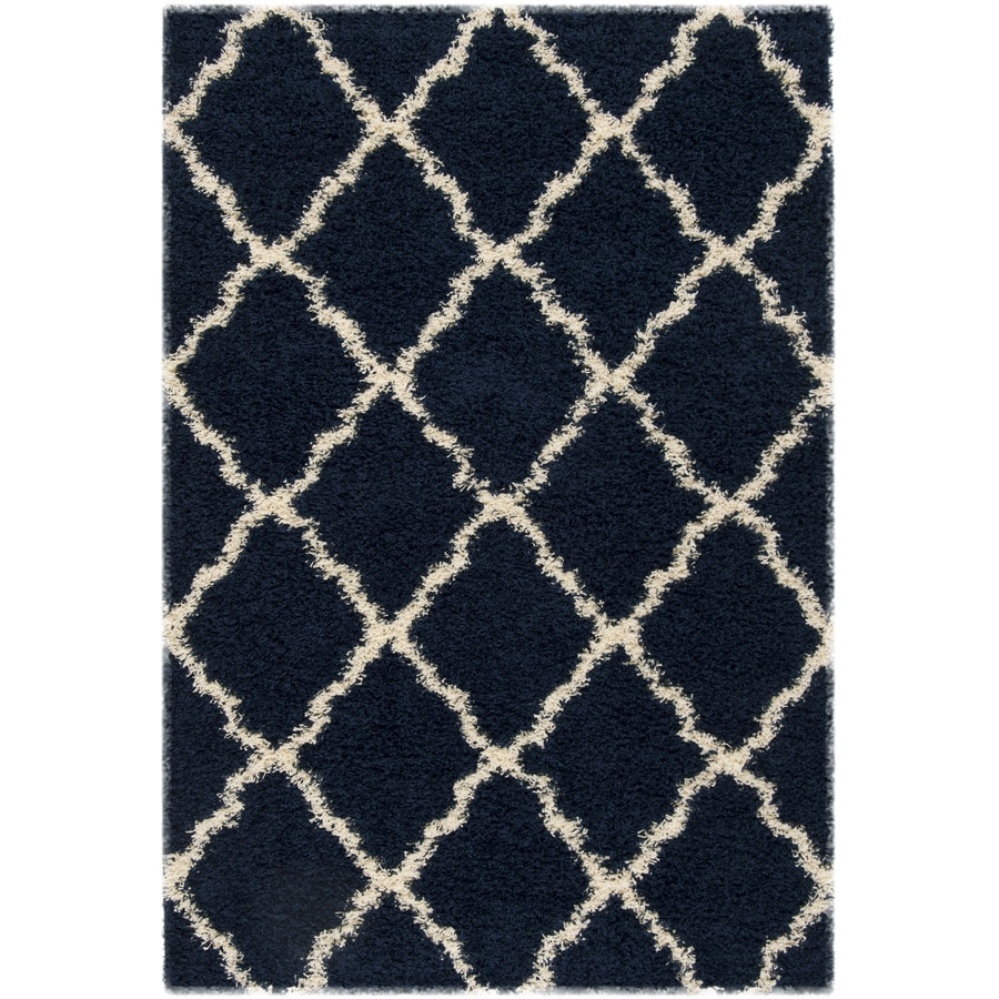 Safavieh Dallas Shag Navy/Ivory Indoor Area Rug (Common: 5