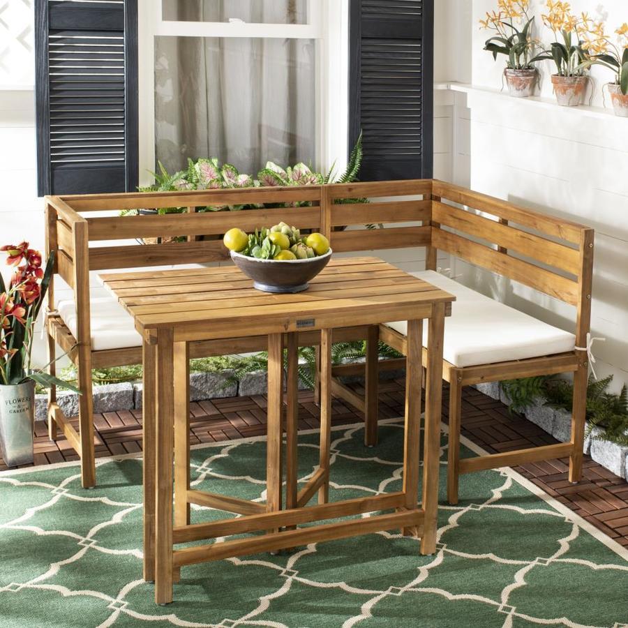 Safavieh Wilton 2 Piece Brown Wood Frame Patio Set With