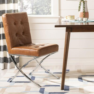 Strange Safavieh Walsh Rustic Light Brown Chrome Faux Leather Accent Gmtry Best Dining Table And Chair Ideas Images Gmtryco
