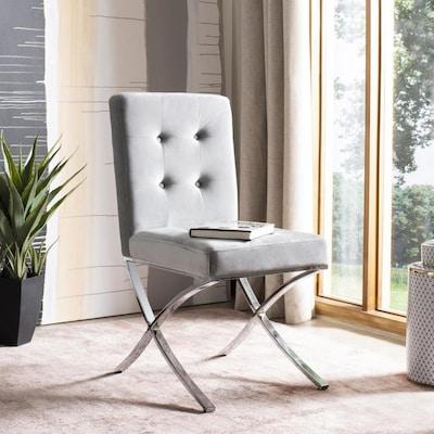 Marvelous Safavieh Walsh Modern Gray Chrome Velvet Accent Chair At Uwap Interior Chair Design Uwaporg