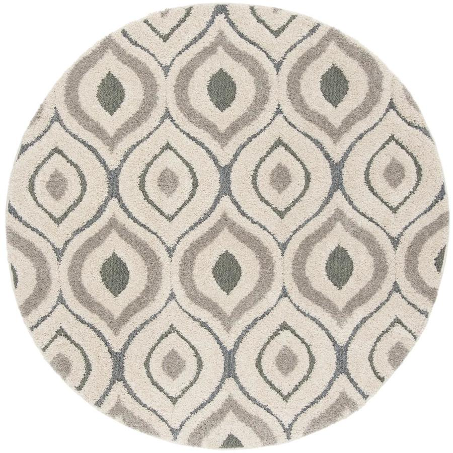 Safavieh Florida Arcell Shag Cream Light Blue Round Indoor Machine Made Area Rug Common 7 X Actual 6 Ft Dia