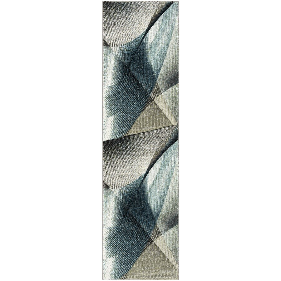 Safavieh Hollywood Skota 2 X 10 Gray Teal Indoor Abstract Mid Century Modern Runner In The Rugs Department At Lowes Com