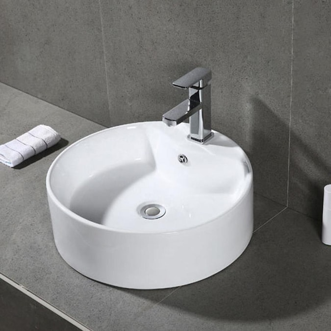 Safavieh White Ceramic Vessel Round Bathroom Sink With Overflow Drain 18 1 In X 18 1 In In The Bathroom Sinks Department At Lowes Com