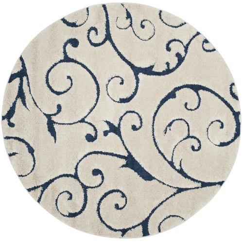 Safavieh Florida Scroll Shag Cream Blue Round Indoor
