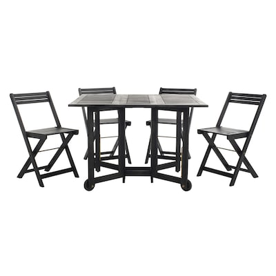Cool Safavieh Arvin 5 Piece Black Wood Frame Patio Set With At Gmtry Best Dining Table And Chair Ideas Images Gmtryco