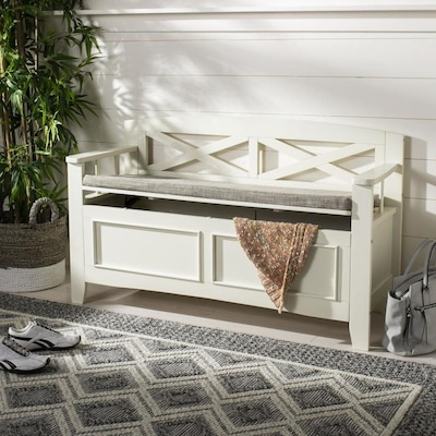 Tremendous Safavieh Anisa Farmhouse Bone Light Gray Storage Bench At Creativecarmelina Interior Chair Design Creativecarmelinacom