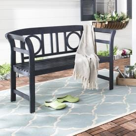 Safavieh Moorpark 49.2 In W X 19.7 In L Dark Slate Gray Patio Bench