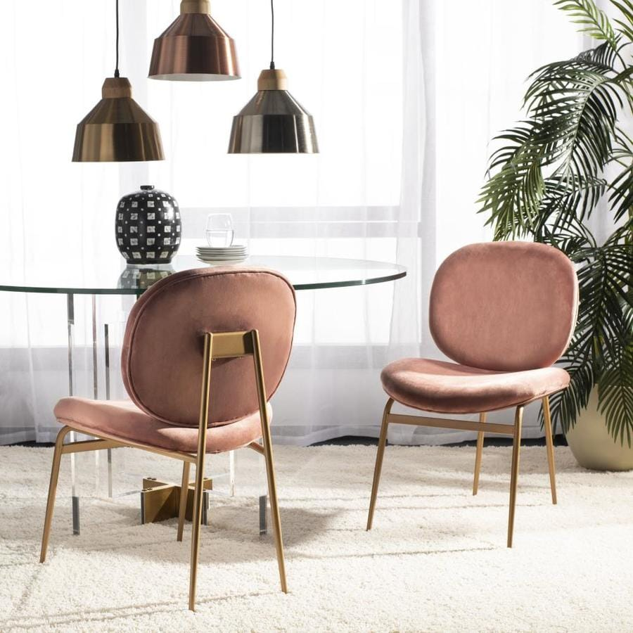 Safavieh Jordana Modern Dusty Rose Gold Velvet Accent Chair In The Chairs Department At Lowes Com