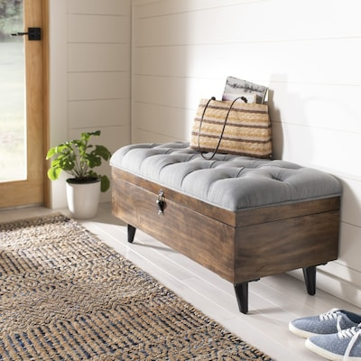 Awesome Safavieh Liam Rustic Gray Dark Oak Storage Ottoman At Gmtry Best Dining Table And Chair Ideas Images Gmtryco