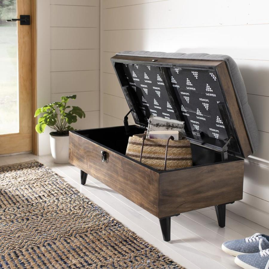 Incredible Safavieh Liam Rustic Gray Dark Oak Storage Ottoman At Lowes Com Squirreltailoven Fun Painted Chair Ideas Images Squirreltailovenorg