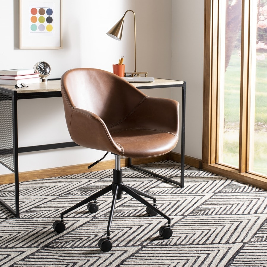 Safavieh Ember Light Brown Black Transitional Swivel Desk Chair In The Office Chairs Department At Lowes Com