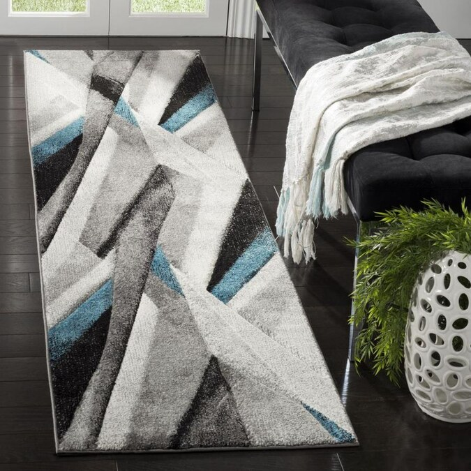 Safavieh Hollywood Kodra 2 X 6 Gray Teal Indoor Geometric Mid Century Modern Runner In The Rugs Department At Lowes Com