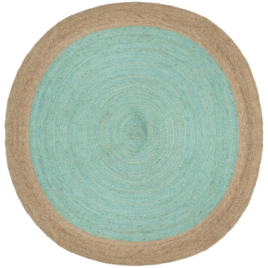 Safavieh Natural Fiber Cira 7 X 7 Aqua Natural Round Indoor Border Coastal Handcrafted Area Rug In The Rugs Department At Lowes Com