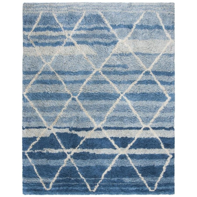 Safavieh Casablanca Safi Shag 8 X 10 Blue Ivory Indoor Trellis Moroccan Handcrafted Area Rug In The Rugs Department At Lowes Com