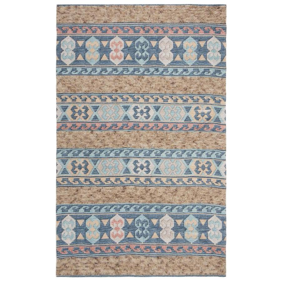 Safavieh Saffron Tegal 3 X 5 Blue Taupe Abstract Bohemian Eclectic Handcrafted Throw Rug In The Rugs Department At Lowes Com