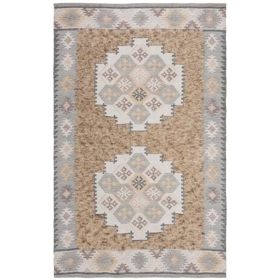 Safavieh Saffron Dumai 5 X 8 Taupe Ivory Abstract Bohemian Eclectic Handcrafted Area Rug In The Rugs Department At Lowes Com