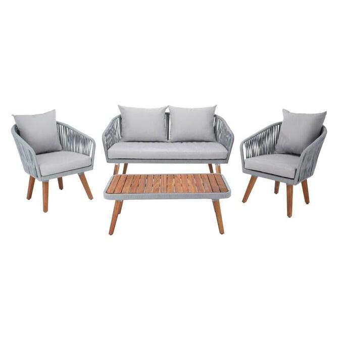 Safavieh Ransin 4-Piece Wood Frame Patio Conversation Set ... on Safavieh Ransin id=63192