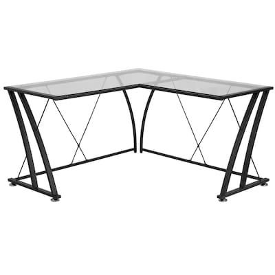 Flash Furniture Glass L-Shape Computer Desk with Black Metal