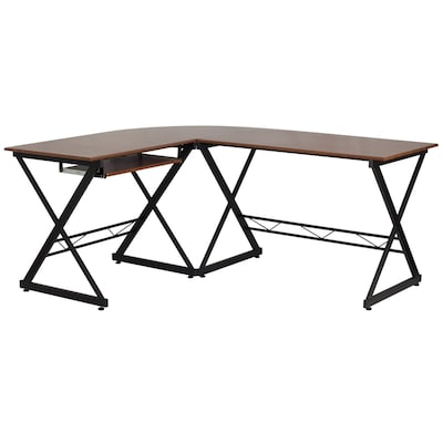 Flash Furniture Contemporary Wood Grain L-shaped Desk at