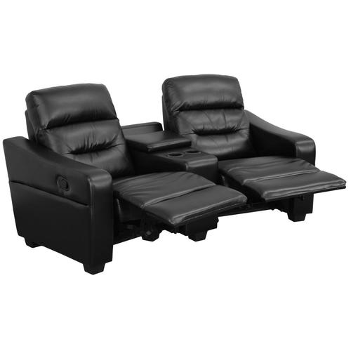 Modern Black Faux Leather Reclining