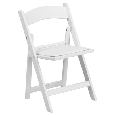 Pleasing Kids White Resin Folding Chair With White Vinyl Padded Seat Pabps2019 Chair Design Images Pabps2019Com
