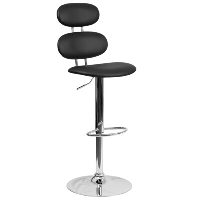 Peachy Contemporary Black Vinyl Adjustable Height Barstool With Ellipse Back And Chrome Base Gmtry Best Dining Table And Chair Ideas Images Gmtryco