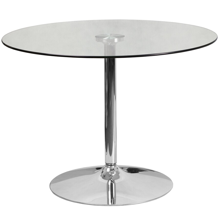 Flash Furniture Chrome Round Dining Table Glass Top With Gray Metal Base In The Dining Tables Department At Lowes Com