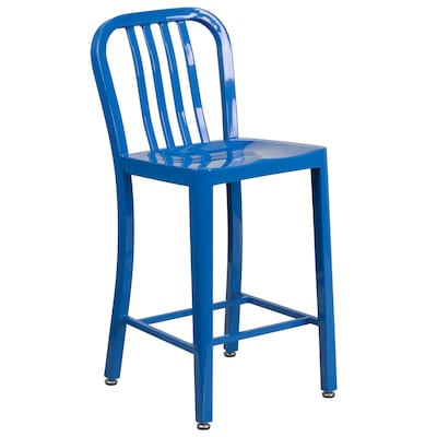 Stupendous Flash Furniture 24 Ft Ft High Blue Metal Indoor Outdoor Evergreenethics Interior Chair Design Evergreenethicsorg