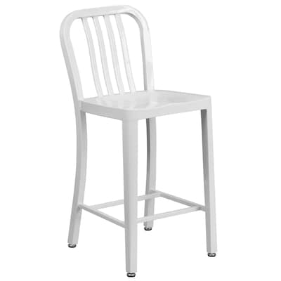 Remarkable 24 Ft Ft High White Metal Indoor Outdoor Counter Height Stool With Vertical Slat Back Evergreenethics Interior Chair Design Evergreenethicsorg