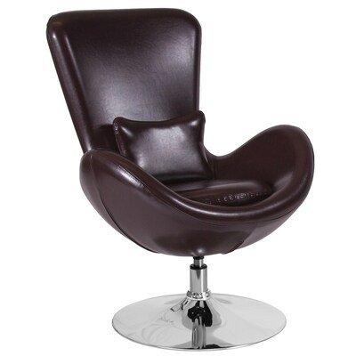 Sensational Flash Furniture Egg Series Modern Brown Leather Faux Leather Dailytribune Chair Design For Home Dailytribuneorg