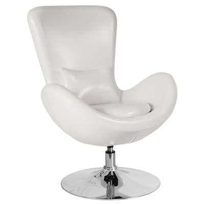 Egg Series Modern White Leather Faux Leather Accent Chair
