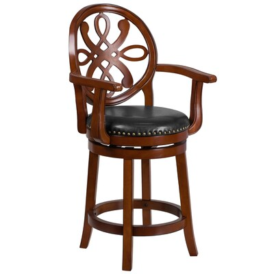 Awe Inspiring Flash Furniture 26 Ft Ft High Brandy Wood Counter Height Bralicious Painted Fabric Chair Ideas Braliciousco