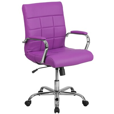 Astonishing Mid Back Purple Vinyl Executive Swivel Office Chair With Chrome Base And Arms Cjindustries Chair Design For Home Cjindustriesco