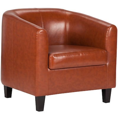 Wondrous Flash Furniture Modern Cognac Faux Leather Accent Chair At Ibusinesslaw Wood Chair Design Ideas Ibusinesslaworg