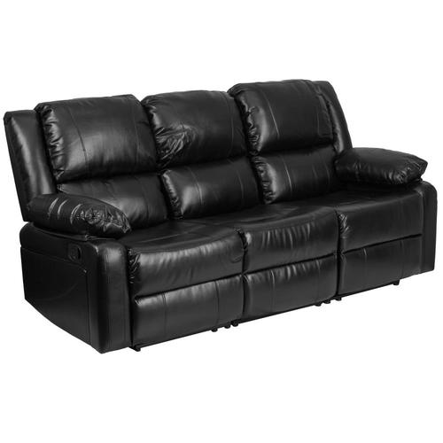 Flash Furniture Harmony Series Modern Black Leather Faux Leather Reclining  Sofa at Lowes.com