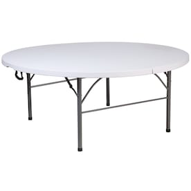 Lifetime Products 6 Ft X 6 Ft Outdoor Round Polyethylene White Folding Utility Table In The Folding Tables Department At Lowes Com