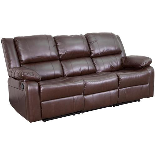 Flash Furniture Harmony Series Modern Brown Leather Faux Leather Reclining  Sofa at Lowes.com