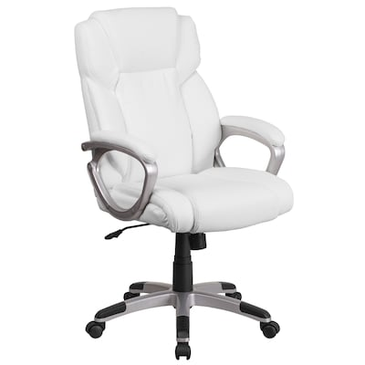 Pleasant Mid Back White Leather Executive Swivel Office Chair With Padded Arms Squirreltailoven Fun Painted Chair Ideas Images Squirreltailovenorg