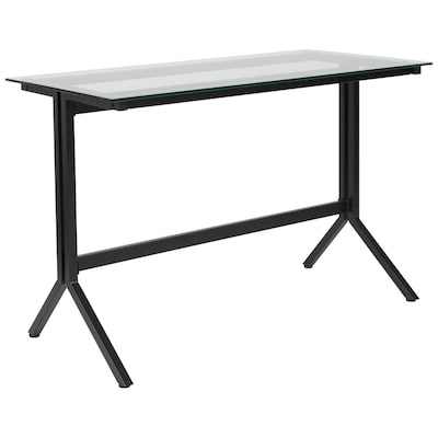 reputable site 85c2d d1cd7 Highland Collection Glass Computer Desk with Black Metal Frame