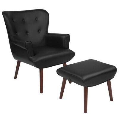 Swell Flash Furniture Bayton Midcentury Black Leather Faux Leather Ibusinesslaw Wood Chair Design Ideas Ibusinesslaworg