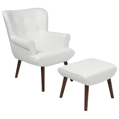 Stupendous Flash Furniture Bayton Midcentury White Leather Faux Leather Frankydiablos Diy Chair Ideas Frankydiabloscom